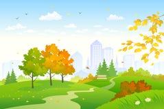 Cartoon autumn park vector illustration