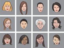 Cartoon avatar beautiful women faces Royalty Free Stock Images