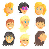 Cartoon avatar female faces with different emotions. Set of women from different nations and professions, colorful Stock Photography