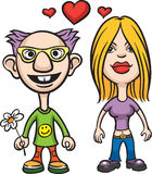 Cartoon avatar love couple nerd and girl. Vector illustration of Cartoon avatar love couple nerd and girl Royalty Free Stock Image