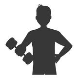Cartoon avatar man with dumbbells, graphic Royalty Free Stock Images