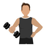 Cartoon avatar man with dumbbells, graphic Stock Image