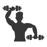 Cartoon avatar man with dumbbells, graphic Royalty Free Stock Photography