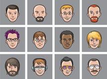 Cartoon avatar men faces Royalty Free Stock Photos