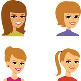 Cartoon Avatar Portrait SET 4 stock illustration
