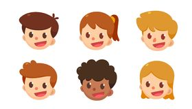 Cartoon avatar set. Cute boys and girls in different styles. Kids faces Royalty Free Stock Photos