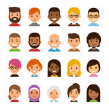 Cartoon avatar set. Diverse avatar set isolated on white background. Different skin and hair color, happy expressions. Cute and simple flat cartoon style royalty free illustration