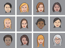 Cartoon avatar women faces Stock Images