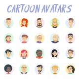 Cartoon avatars. Set of 20 cartoon avatars. Characters with different emotions Stock Illustration