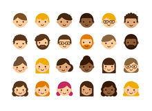 Cartoon avatars. Set of diverse male and female avatars  on white background. Different skin color and hair styles. Cute and simple flat vector style Stock Photos