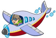 Cartoon aviator. On white background - illustration vector illustration