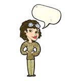 Cartoon aviator woman with speech bubble Stock Image