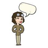 Cartoon aviator woman with speech bubble Stock Photography