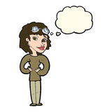 Cartoon aviator woman with thought bubble Royalty Free Stock Photo