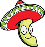 Cartoon Avocado Sombrero Royalty Free Stock Photos