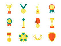 Cartoon Awards Color Icons Set. Vector. Cartoon Awards Color Icons Set Symbol of Success Sport and Business Competition Flat Style Design. Vector illustration Royalty Free Stock Image