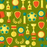Cartoon Awards Seamless Pattern Background. Vector. Cartoon AwardsSeamless Pattern Background on a Green Symbol of Success Sport and Business Competition Flat Stock Photography