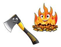 Cartoon axe with a burning fire. Cartoon axe or chopper for chopping the firewood and a separate burning fire with happy smiling faces for travel and tourism Stock Photography