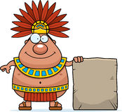 Cartoon Aztec King Sign Royalty Free Stock Photo