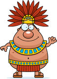 Cartoon Aztec King Waving Stock Image