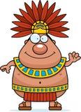 Cartoon Aztec King Waving Stock Image