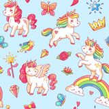Cartoon babe pony sketch cute background. Miracle sweet dreams with magic unicorn, clouds and rainbow vector seamless. Cartoon babe pony sketch cute pastel Stock Image