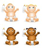 Cartoon Babies With Bottles. An illustration featuring your choice of baby holding a baby bottle - african american and caucasian - boys and girls Stock Image