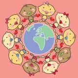 Cartoon babies & world-AFRICA stock photo