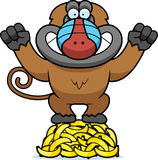 Cartoon Baboon Bananas Royalty Free Stock Image