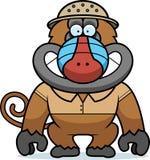 Cartoon Baboon Safari. A cartoon illustration of a baboon in a safari outfit and pith Stock Photography