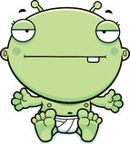 Cartoon Baby Alien Bored Royalty Free Stock Image