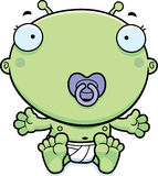 Cartoon Baby Alien Pacifier Royalty Free Stock Photo