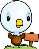 Cartoon Baby Bald Eagle Wood Sign Stock Image