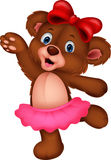 Cartoon baby bear dancing Stock Photos