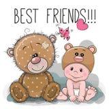 Cartoon Baby in a Bear hat and Teddy Bear. Cute Cartoon Baby in a Bear hat and Teddy Bear royalty free illustration