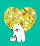 Cartoon Baby Bear with Raspberries Heart Stock Photography