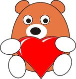 Cartoon baby bear toy with red heart Stock Images