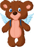 Cartoon baby bear with wings Stock Photography