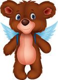 Cartoon baby bear with wings Stock Photo