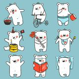 Cartoon Baby Bears in Action Collection Royalty Free Stock Photography