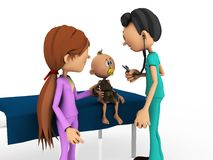 Cartoon baby being examined by doctor. Royalty Free Stock Photography