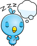 Cartoon Baby Blue Bird Dreaming Royalty Free Stock Photos