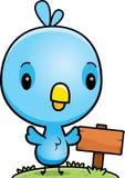 Cartoon Baby Blue Bird Wood Sign Stock Images