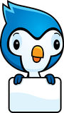 Cartoon Baby Blue Jay Sign Royalty Free Stock Photography