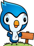 Cartoon Baby Blue Jay Wood Sign Stock Images