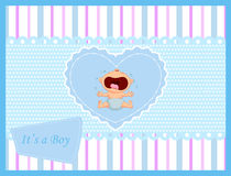 Cartoon baby boy crying card Royalty Free Stock Photos