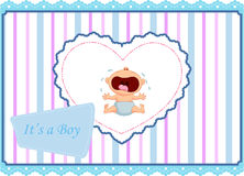 Cartoon baby boy crying card Stock Photo