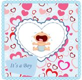Cartoon baby boy crying card Stock Image