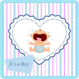 Cartoon baby boy crying card Stock Images