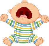 Cartoon baby boy crying Stock Image